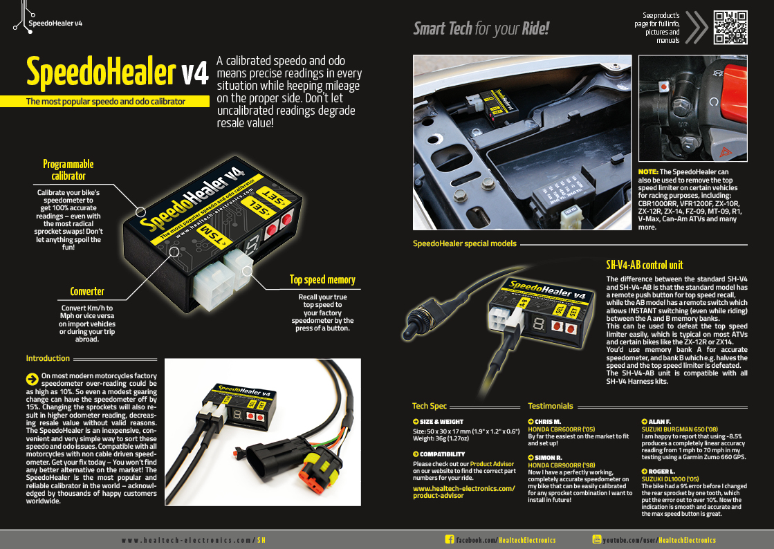 Speedohealer V4 Speedo And Odo Calibrator By Healtech Electronics Ltd 2012 Cbr1000rr Wiring Diagram Flyer